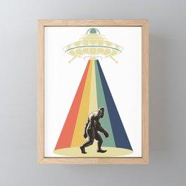 Retro Vintage 1970 1960 UFO Alien Space Conspiracy Big Foot Bigfoot Tees Framed Mini Art Print