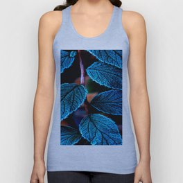 Peacock Blue Leaves Nature Background #decor #society6 #buyart Unisex Tank Top
