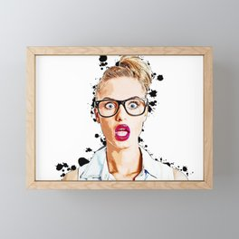 WOW Face Surprised Woman with Black Glasses and Open Mouth,  Pop-Art  Framed Mini Art Print