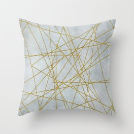 Golden Faux Glitter Lines On Teal Grey Throw Pillow