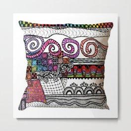 Tribal Print Cushion Cover Metal Print