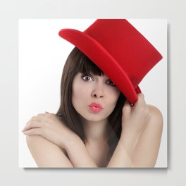 surprised woman with red top hat isolated on white background Metal Print