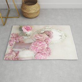 Shabby Chic Pink Peonies White Mirror Romantic Cottage Prints Home Decor Rug