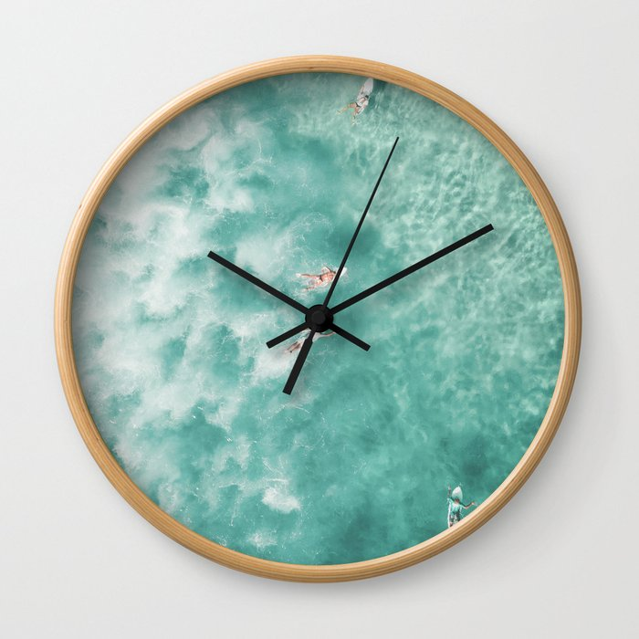 Surfing in the Ocean Wall Clock