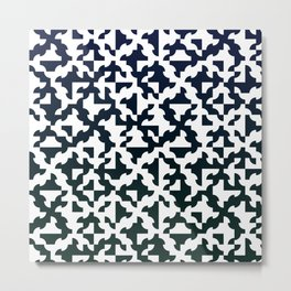 Drunken Path Pattern - Dark Blue Green Metal Print