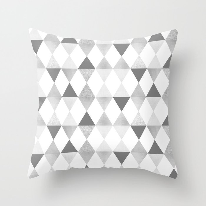 Graphic Pattern Funky Geometric Triangles Lightgrey Silver Throw