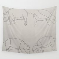 pigs Wall Tapestries featuring Pigs by Melissa Roberts