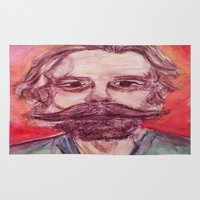 grateful dead Area & Throw Rugs featuring Bob Weir Watercolor Portrait Grateful Dead by Acorn
