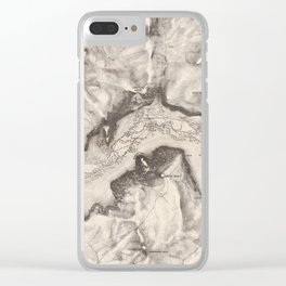 Vintage Map of Yosemite Valley (1870) Clear iPhone Case