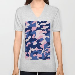 Blue Pink Camouflage Unisex V-Neck