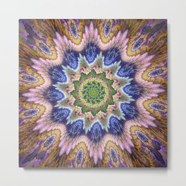 Groovy textured kaleidoscope design Metal Print