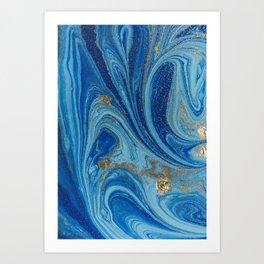 Blue & Gold Painting Art Print