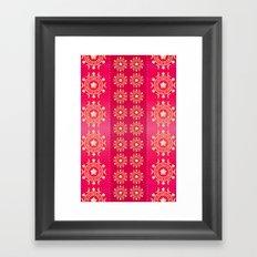 Red flowers pattern Framed Art Print