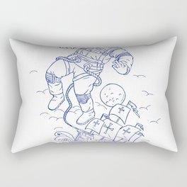 Astronaut Tethered Caravel Ship Drawing Rectangular Pillow