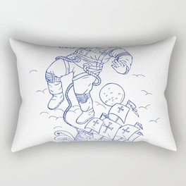 Astronaut Tethered Caravel Ship Drawing Rectangular Pillow