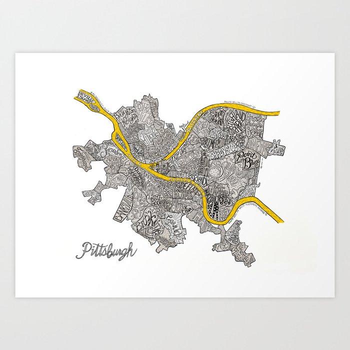 Pittsburgh Neighborhoods   3 Gold Rivers Kunstdrucke