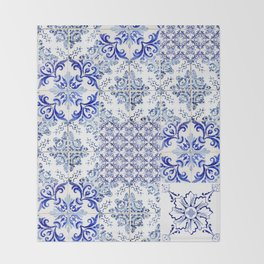 Azulejo VIII - Portuguese hand painted tiles Throw Blanket