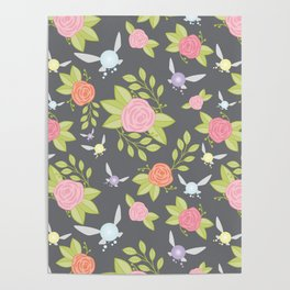 Garden of Fairies Pattern in Grey Poster