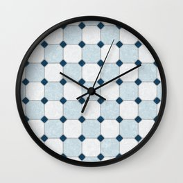 Sky Blue Classic Floor Tile Texture Wall Clock
