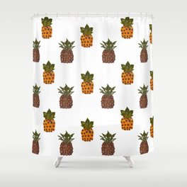 pressed flower pineapple print Shower Curtain