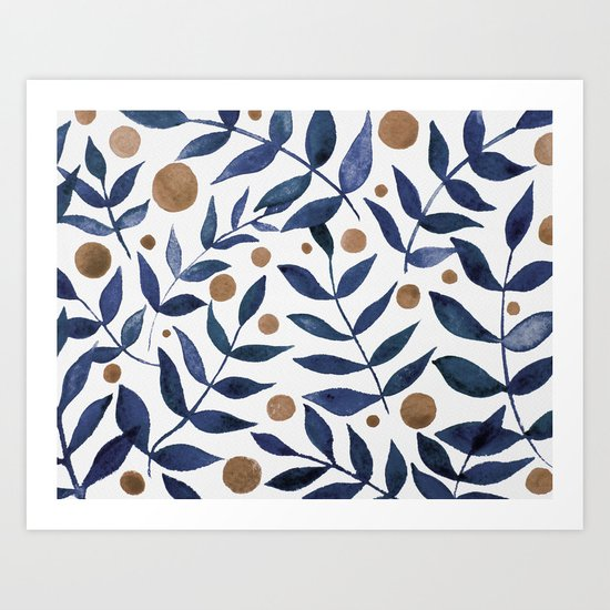 Watercolor berries and branches - indigo and beige by wackapacka