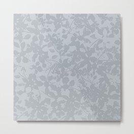 Broken but Flourishing Floral Pattern - Grey Metal Print