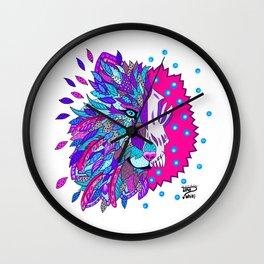Wolf with Feathers Spirit Animal Pop Art Print Bold Wall Clock