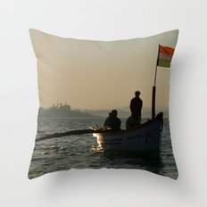 Dolphin Boat with Indian Flag Palolem Throw Pillow