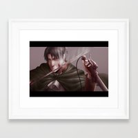 shingeki no kyojin Framed Art Prints featuring Shingeki no Kyojin - Levi by Paleblood