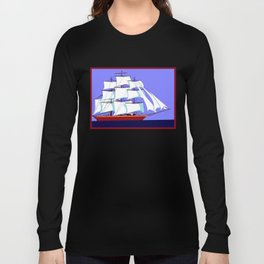 A Clipper Ship Full Sail in Still Waters Long Sleeve T-shirt