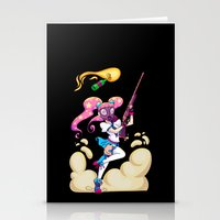 magical girl Stationery Cards featuring Riot Magical Girl by Thais Magnta Canha