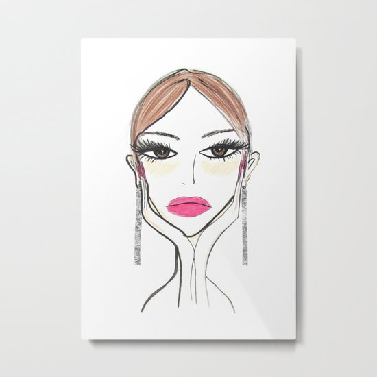 Another girl with the foil earrings Metal Print