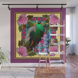 YELLOW-PUCE  PURPLE & PINK ROSES GREEN PEACOCK FLORAL Wall Mural