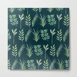 Bouquet of branches and leaves pattern,  Peacock background Metal Print