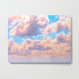 Beautiful Pink Cotton Candy Clouds Against Baby Blue Sky Fairytale Magical Sky Metal Print