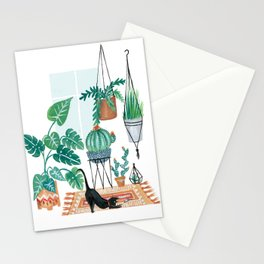 Cat in Potted Jungles Stationery Cards