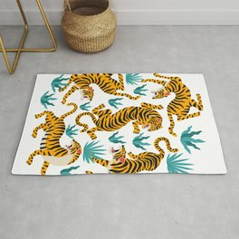 Cute tiger dance in the tropical forest hand drawn illustration Rug