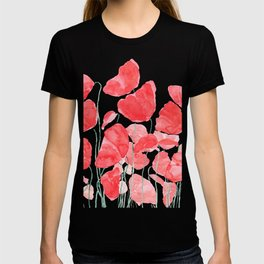 abstract red poppy field watercolor T-shirt