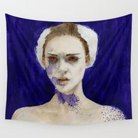 black swan Wall Tapestries featuring Black Swan by Jethro Lacson