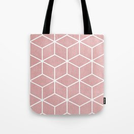 Blush Pink and White - Geometric Textured Cube Design Tote Bag