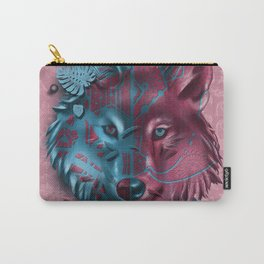 wolf vintage decor pink Carry-All Pouch