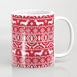 Dachshund doxie fair isle christmas sweater festive red and white holiday dog lover gifts Coffee Mug