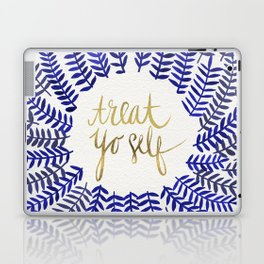 Treat Yo Self – Gold & Navy Laptop & iPad Skin