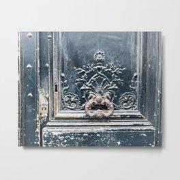Black Door - Paris, France Metal Print
