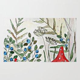 Watercolor. Forest. Amanita. Rug