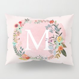 Flower Wreath with Personalized Monogram Initial Letter M on Pink Watercolor Paper Texture Artwork Pillow Sham