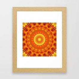 Mandala orange light Framed Art Print