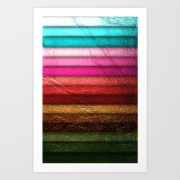 leather Art Prints featuring Chic Leather Glitter Stripes by Joke Vermeer
