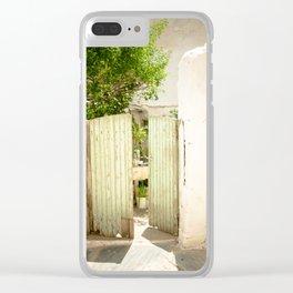 Green Gate in white wall Crete, Greece Clear iPhone Case