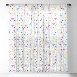 Pin Point Hearts CMYK Sheer Curtain